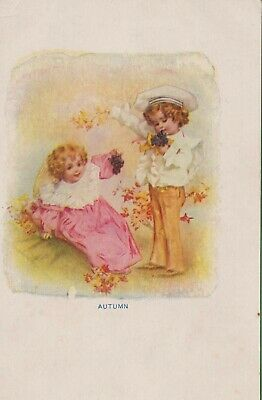Vintage Antique Early 1900's Postcard Little Girl and Boy Illustration  Autumn