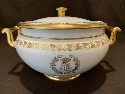 Louis Philippe Sevres Service Des Princes Covered Soup Tureen Gold Leaves WOW!