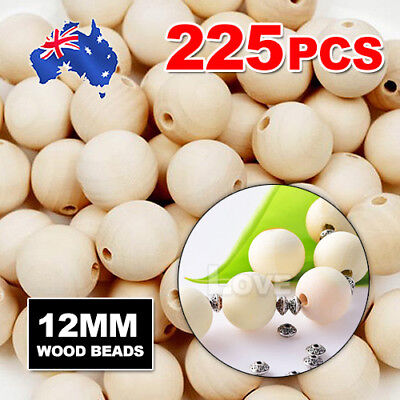 225pcs 12mm  Wooden Beads Natural Color Round Ball Wood Speacer Beads