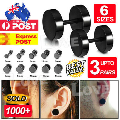 Men's Unisex Earing Stud Plugs Stainless Steel Ear Studs Piercing AUS Jewellery