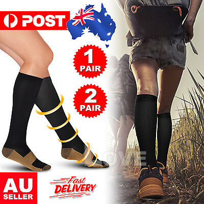 Copper Compression Socks Anti Fatigue Unisex Travel Varicose Vein Flight Sleeve