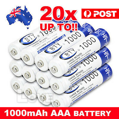 4-20X BTY AAA Rechargeable Battery Recharge Batteries 1.2V 1000mAh Ni-MH OZ