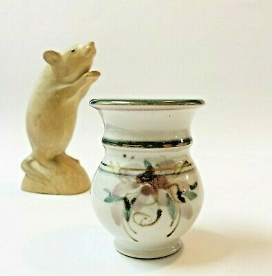 Studio Pottery Small Posy Vase 8cm Tall Floral with Gold Trim, by Coralie Knight