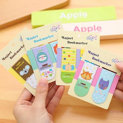 2pcs Metal Magnet Bookmarks Cute Cartoon Memo Note Book Marker Stationery  Fast