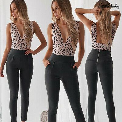 Sexy Lady Sleeveless Leopard Romper V Collar Jumpsuit One Piece Bodysuit Tops