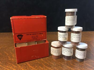 Vintage Iron Ore Company of Canada Box w/ Six Bottles of Labeled Samples