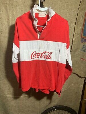 bf20b6de VINTAGE COCA COLA Polo Shirt 80s Rugby Spell Out Long Sleeve Retro ...