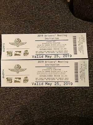 (2) 2019 Indy 500 Drivers Meeting Tickets May 25th - Local Pickup Garage Access