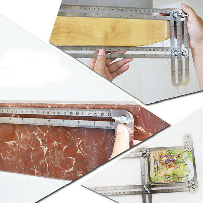 Four-Sided Stainless Steel Adjustable Measuring Multi-Angle Template Scale Ruler