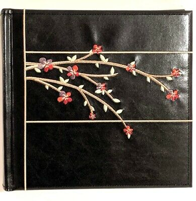 Beautiful Black Scrapbook Photo Album Embroidered Flowers Pictures Vacation