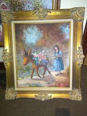 Ornate Antique Frame Gold Gilt Wood Carved Victorian French w/oil painting 28x32