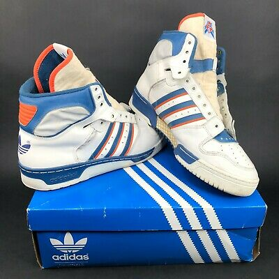 Patric Ewing Blue and White Vintage 1980's Adidas High Top