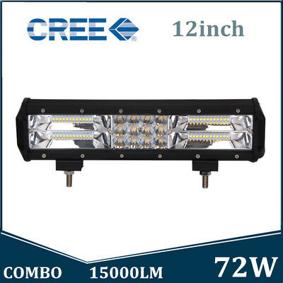 12INCH 180W Tri-Row Led Work Light Bar Spot Flood Combo Offroad 7D+ ATV Tractor