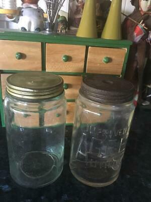 Vintage Agee Utility Glass Jars /Green & Clear Tint (2) Collectable - Buy Now