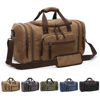 Large Canvas Travel Tote Luggage Men's Weekend Gym Shoulder Duffle Bag Strap