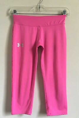 Girls Under Armour Fitted Crop Length Athletic Tights Size L Pink
