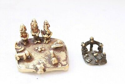 1800's Antique Old Rare Brass Carved Holy Worship Hindu God Shiv Family NH3199