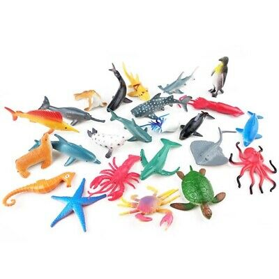 24X Plastic Ocean Animals Figure Sea Creatures Dolphin Turtle Whale Model Toys