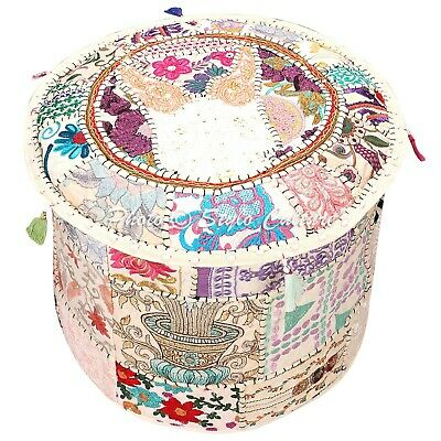 "Indian Round Fabric ottoman Cover Vintage Patchwork Pouffe Accent 18"" Foot Stool"