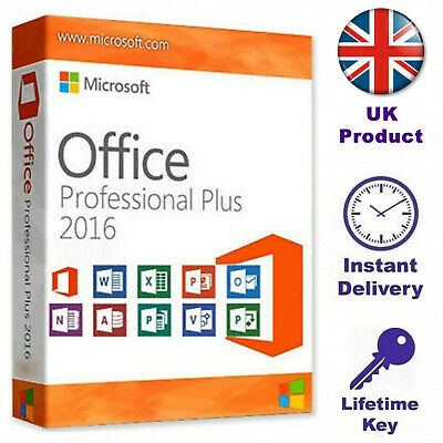 Microsoft Office 2016 Pro Plus UK Genuine License Key activation Product Code