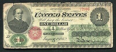 Fr. 16 1862 $1 One Dollar Legal Tender United States Note Very Fine