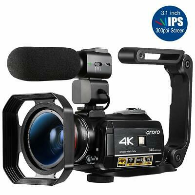 ORDRO AC3 4K WiFi Digital Video Camera Camcorder 24MP 30X + Microphone + Holder