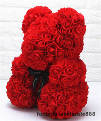 Large Cartoon Bear Red Rose Flower Giant Wedding Toy Valentine's Doll Gifts 45cm