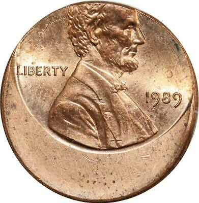 O8028 Scarce USA Lincoln Cent One Penny 1989 Off Center Error Missing UNC