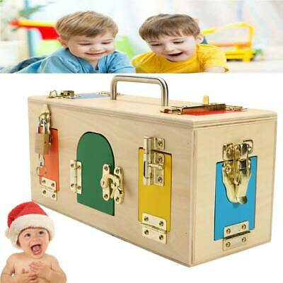Baby Kid Montessori Educational Practical Material Wooden Toy Lock Latch Box