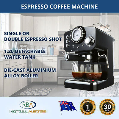 Espresso Coffee Machine Double High Pressure Cappuccino Frothing 1.2L Water Tank