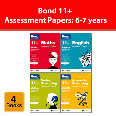 Bond 11+ Maths English Verbal Reasoning Assessment Papers 6-7 years 4 Books Set