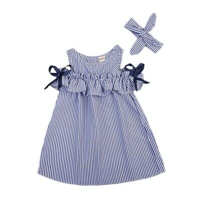 Newborn Dress New Striped Cotton Above Knee Off Shoulder Girls Baby Short Sleeve