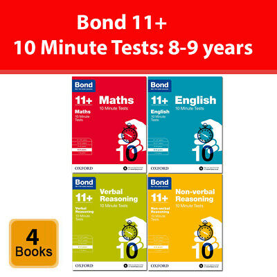 Bond 11+ Maths English Verbal Non-verbal Reasoning 10 Minute Test 8-9 years Set