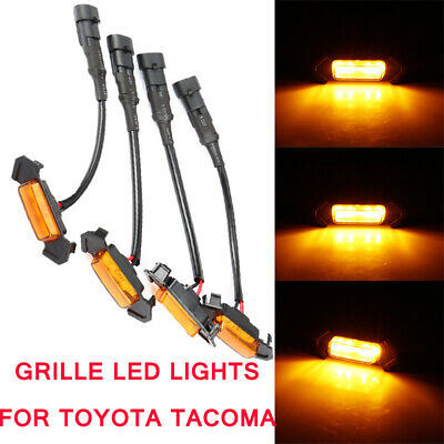4X Style Grille Led Lights For Toyota Tacoma Trd Grill Leds Amber 2016-2019