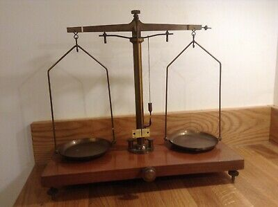 Old vintage  Apothecary Brass and Wood Scales. W & J George LTD