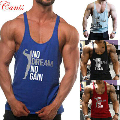 Men's Gym Muscle Sleeveless Tee Shirt Tank Top Bodybuilding T Shirt Fitness Vest