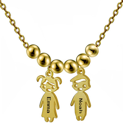 Personalized Engraved Custom Name Letters Boys Girls Necklace Pendant Gifts