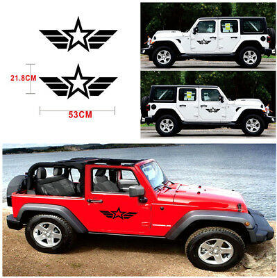 2X Car Styling Reflective Army Star Vinyl Sticker Decal for Jeep Wrangler SUV