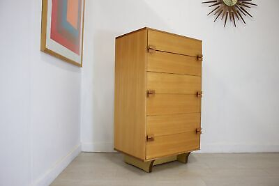 DELIVERY£50 Mid Century Retro Light Teak Younger Tallboy Chest of Drawers