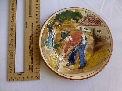 c.20th - Vintage Portugese Hand Painted Ceramic Pottery Charger Plate
