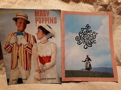 Vintage Movie Programs Mary Poppins 1964,  Sound Of Music 1965 Julie Andrews