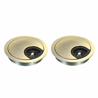 "Cable Hole Cover, 2-3/8"" Zinc Alloy Desk Grommet, 2 Pcs (Bronze Tone)"