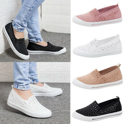 Womens Casual Sneakers Trainers Ladies Breathable Slip On Flat Pumps Shoes Size