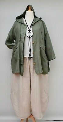 """LAGENLOOK LINEN OVERSIZED HOODED 2 POCKETS LONG JACKET**WHITE**BUST UP TO 50/"""""""