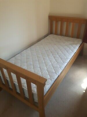 Aspace Substantial solid Oak single bed with mattress