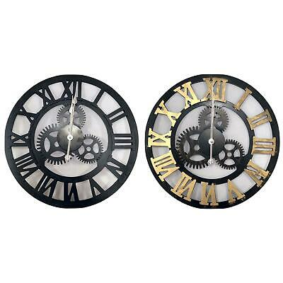 Large Wooden Skeleton Roman Numeral Wall Clock Black&Gold Round Shape 40/50/60cm