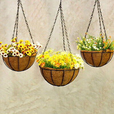 Hanging Planter Hanging Flower Basket Pack with Coco Coir Liner Metal Chain SGW