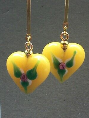 Art Deco style Czech glass Lampwork heart gold vermeil earrings