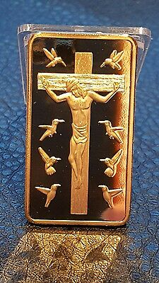 Collectable Gold Plated Jesus Christ Ten Commandments Bullion Ingot Bar