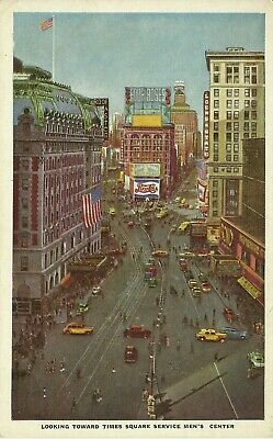 Looking Towards Times Square Service Mens Center Pepsi Sign 1930s Postcard